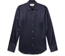 Slim-fit Satin Shirt - Midnight blue