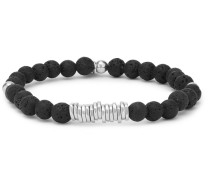 Disc Lava Bead And Sterling Silver Bracelet - Black