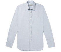 Puppytooth Cotton Shirt - Light blue