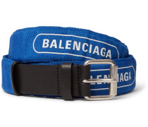3cm Blue Logo-print Canvas And Leather Belt - Blue