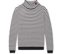 Slim-fit Appliquéd Striped Cotton Rollneck Sweater - Black