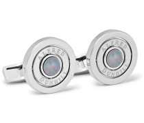 Gyro Rhodium-Plated and Mother-of-Pearl Cufflinks