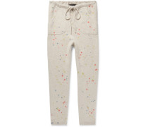 Slim-fit Tapered Paint-splattered Cashmere Sweatpants