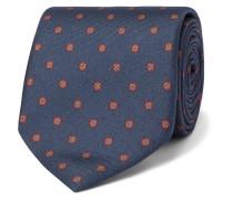 8cm Printed Mulberry Silk-jacquard Tie - Midnight blue