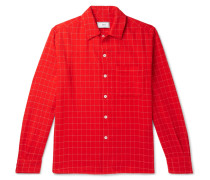 Checked Wool-blend Flannel Shirt - Red