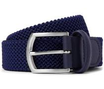 3.5cm Navy Leather-trimmed Woven Elastic Belt - Navy