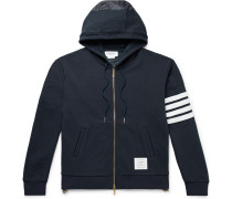 Panelled Striped Loopback Cotton-Jersey and Ripstop Zip-Up Hoodie