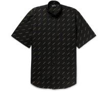 Oversized Button-down Collar Logo-print Cotton-poplin Shirt