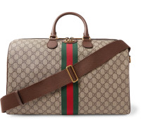 Ophidia Leather-trimmed Monogrammed Coated-canvas Holdall - Beige
