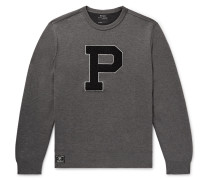 Appliquéd Mélange Jersey Sweatshirt - Dark gray