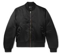Oversized Embroidered Satin Bomber Jacket - Black