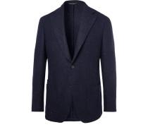 Navy Slim-fit Unstructured Harris Tweed Blazer - Navy
