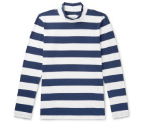 Striped Cotton-jersey Mock-neck T-shirt