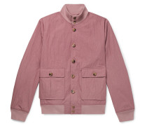 Valstarino Slim-fit Textured Cotton-blend Bomber Jacket - Pink