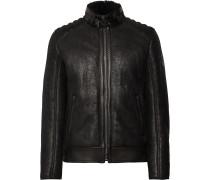 Westlake 2.0 Slim-Fit Leather-Trimmed Shearling Biker Jacket