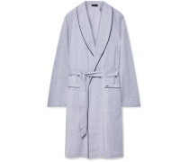 Theo Checked Mercerised Cotton Robe - Gray