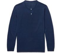 Linen Henley Sweater - Navy