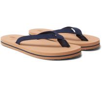 Leather-trimmed Cotton-webbing Flip-flops - Navy