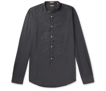 Grandad-Collar Bib-Front Brushed-Twill Half-Placket Shirt