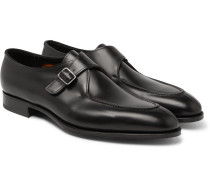 Clapham Leather Monk-strap Shoes - Black