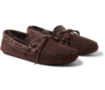 Fireside Leather-Trimmed Shearling-Lined Suede Slippers