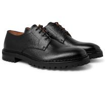 Pebble-grain Leather Derby Shoes - Black