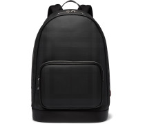 Leather-Trimmed Checked Coated-Canvas Backpack
