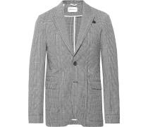 Midnight-Blue Brookes Slim-Fit Checked Cotton-Blend Seersucker Suit Jacket