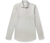 Light-Grey Slim-Fit Cotton-Hopsack Shirt