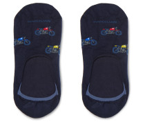 Intarsia Stretch Pima Cotton-Blend No-Show Socks