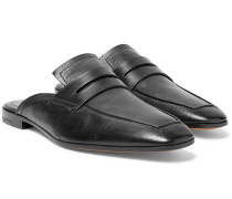 Lorenzo Rimini Leather Backless Loafers - Black