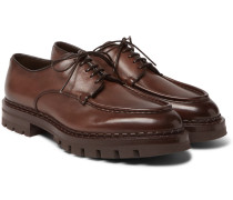 Burnished-leather Derby Shoes - Brown