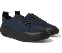 Leather-trimmed Mesh Sneakers