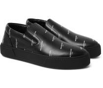 Printed Leather Slip-on Sneakers - Black