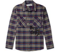 Logo-Print Checked Cotton-Blend Flannel Shirt