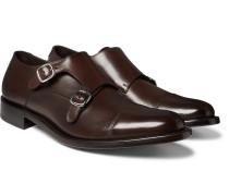 Bristol Polished-leather Monk-strap Shoes - Dark brown