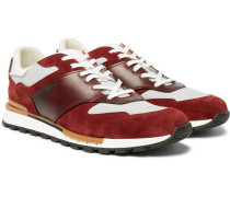 Run Track Leather, Suede And Nylon Sneakers - Burgundy