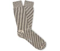 Striped Cotton-Blend Jacquard Socks