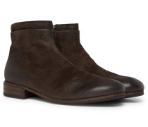 Burnished-suede Chelsea Boots - Brown