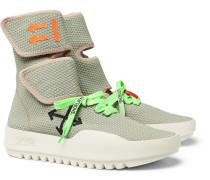 Moto Wrap Mesh High-top Sneakers - Gray green