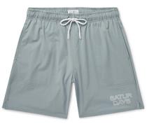 Wide-Leg Long-Length Logo-Print Swim Shorts