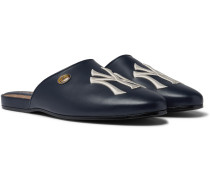 + New York Yankees Embroidered Leather Backless Loafers - Navy