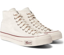Skagway Leather-trimmed Canvas High-top Sneakers - Off-white