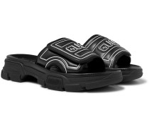 Logo-Embossed Leather and Rubber Slides