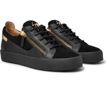 Logoball Leather And Suede Sneakers