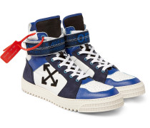Industrial Panelled Ripstop, Suede And Leather High-top Sneakers - Blue
