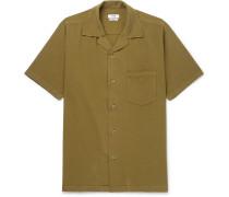 Duncan Camp-collar Garment-dyed Slub Cotton Shirt