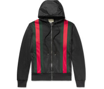 Webbing-trimmed Jersey Hooded Jacket