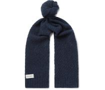 Arbury Mélange Waffle-knit Wool Scarf - Navy