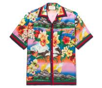 Camp-collar Grosgrain-trimmed Floral-print Silk Satin-twill Shirt